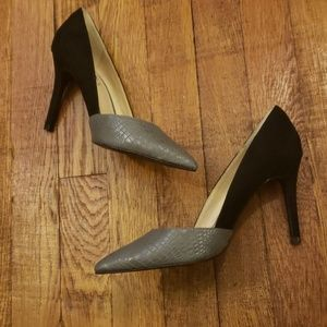 Zara Faux suede and snakeskin pumps